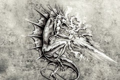 Tattoo art, sketch of a dragon burning vector illustration