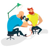 Tattoo artist with client. Tattoo master makes a guy a tattoo. Cartoon illustration of a flat design. Vector Image Royalty Free Stock Photography