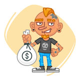 Tattoo Artist Holding Big Bag of Money. Vector Illustration. Mascot Character Stock Photos