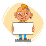 Tattoo Artist Holding Blank Piece of Paper. Vector Illustration. Mascot Character Royalty Free Stock Photos