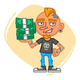 Tattoo Artist Holds Lot Money. Vector Illustration. Mascot Character Stock Image