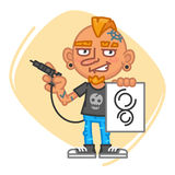 Tattoo Artist Holds Tattoo Machine and Sketch. Vector Illustration. Mascot Character Stock Photography