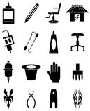Tattoo artist icons set. Tattoo artist vector icons set in black Royalty Free Stock Images