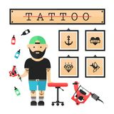 Tattoo artist  master in salon. Vector modern flat style cartoon character illustration. Isolated on white background. Tattoo concept. Anchor, heart, diamond Royalty Free Stock Photo