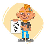 Tattoo Artist Points to Sketch. Vector Illustration. Mascot Character Royalty Free Stock Image