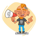 Tattoo Artist Speaks Into Megaphone and Points Finger. Vector Illustration. Mascot Character Stock Photos