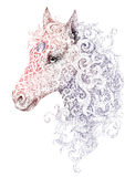 Tattoo, beautiful horse head with a mane. Of black and white graphics with floral ornaments Royalty Free Stock Photos