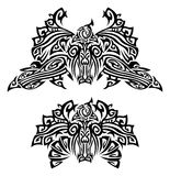 Tattoo with birds. Two tattoo with fantasy birds. Mixed design of two styles: tribal and modern Royalty Free Stock Photo