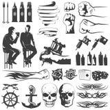 Tattoo Black White Icons Set Royalty Free Stock Image