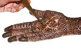 Tattoo on bridal hand Royalty Free Stock Photo