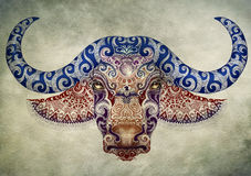 Tattoo, bull, buffalo head with horns Royalty Free Stock Image