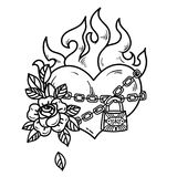 Tattoo burning heart in fetters of love with rose. Tattoo flaming heart bound by chains of love. Burning heart with roses. Tattoo heart in fetters of love on Royalty Free Stock Image