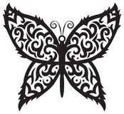 Tattoo butterfly. Image of beautiful butterfly in tribal style on isolated background Stock Image