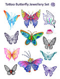 Tattoo butterfly jewellery set print cloth Stock Photos