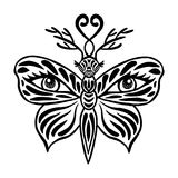 Tattoo butterfly vector, Beautiful fantasy butterfly with deer antlers and human eyes on its wings Hand drawn black mask isolated Royalty Free Stock Photos