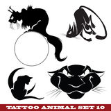 Tattoo cats. Vector template tattoo: cats on different topics Stock Image