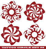 Tattoo circle. Vector set: templates for tattoo and design in the form of the sun on different topics Stock Images