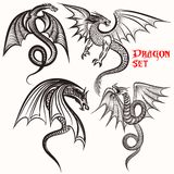 Tattoo collection from hand drawn dragons for design Stock Photos