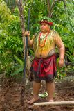 Polynesian Warrior in Costume. Tattoo covered warrior in full costume. Location Oahu Polynesian Cultural Center stock photo