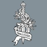 Tattoo dagger, snake, ribbon. Lettering Fortitude. Vector Tattoo Dagger with green snake, flower, ribbon and lettering Fortitude. Snake wraps around old dagger Stock Photography