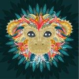 Tattoo design color head of the monkey. Color patterned head of the monkey. Tattoo design. 2016 New Year Symbol. Vector illustration vector illustration