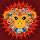 Tattoo design color head of the monkey. Color patterned red head of the monkey. Tattoo design. 2016 New Year Symbol. Vector illustration stock illustration