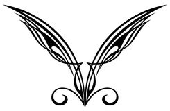 Tattoo design elements. Wings. Stock Photo
