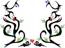 Tattoo Design with Flowers and Hearts Vector Royalty Free Stock Image