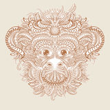 Tattoo design head of the monkey. Patterned head of the monkey. 2016 New Year Symbol. Tattoo design. Vector illustration vector illustration