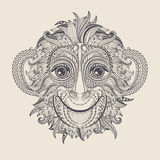 Tattoo design head of the monkey. Royalty Free Stock Photo