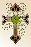 Tattoo design with Irish cross. Tattoo design with hand drawn Irish cross, four-leaf clover and hand written text hope, dream, love, believe - beautiful Royalty Free Stock Images