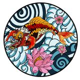 Tattoo design koi dragon with cherry blossom and wave in circle.koi fish in water circle with Sakura flower. Japanese Dragon carp. Line drawing coloring book Stock Images