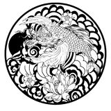 Tattoo design koi dragon with cherry blossom and wave in circle.koi fish in water circle with Sakura flower. Japanese Dragon carp. Line drawing coloring book Royalty Free Stock Images