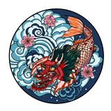 Tattoo design koi dragon with cherry blossom and wave in circle.koi fish in water circle with Sakura flower. Japanese Dragon carp. Line drawing coloring book Stock Image