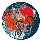 Tattoo design koi dragon with cherry blossom and wave in circle.koi fish in water circle with Sakura flower. Japanese Dragon carp. Line drawing coloring book Royalty Free Stock Photo