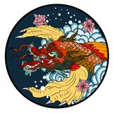 Hand drawn koi fish in circle, Japanese carp line drawing coloring book vector image. Tattoo design koi dragon with cherry blossom and wave in circle.koi fish in Stock Images