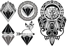 7741f1844f283 Tattoo design with lion. Tattoo diamonds and tattoo design with lion  royalty free illustration