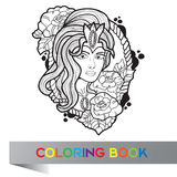 Tattoo design of nice girl with long curly hair Stock Photography