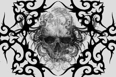 Skull. Tattoo design over grey background. textured backdrop. Ar stock photos
