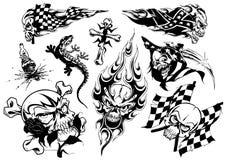 Tattoo design set (skull) Stock Images