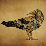 Tattoo, dotwork Raven in the style of steampunk Royalty Free Stock Photos