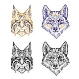 Tattoo, dotwork. Wolf and lynx Royalty Free Stock Photos