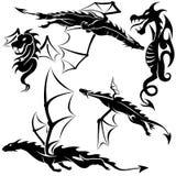 Tattoo Dragons. 03 - black tribal illustration as Royalty Free Stock Photo