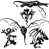 Tattoo Dragons. 05 - black tribal illustration as Stock Image