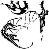 Tattoo Dragons. 06 - black tribal illustration as Royalty Free Stock Images