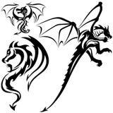 Tattoo Dragons. 07 - black tribal illustration as Royalty Free Stock Photography