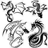 Tattoo Dragons. Black Illustration, Vector Stock Image