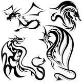 Tattoo Dragons. Black Illustrations, Vector Stock Image