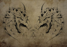 Tattoo dragons over vintage paper, black tribal tattoos stock illustration