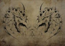 Tattoo dragons over vintage paper, black tribal tattoos stock illustration
